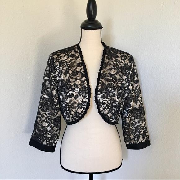 c1b77ee39f5da Badgley Mischka Jackets   Blazers - Badgley Mischka silk and lace  bolero crop jacket